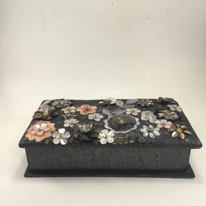 Silky Fabric Floral Jewelry Box! Beauty!